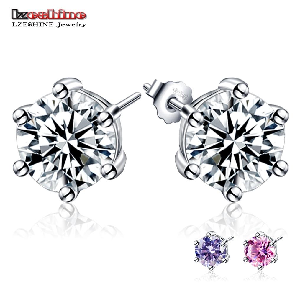Genuine 925 Pure Sterling Silver Cz Diamond Wedding Engagement Cubic  Zirconia Stud Earring For Women Men
