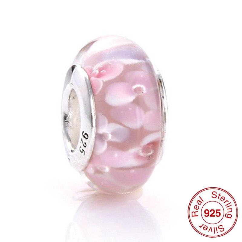 48073 Murano Glas Perlen Für Pandora Armbänder Authentische 925 Sterling Silber Schraube Gewinde Rosa Glas Diy Charme Gute Begleiter FüR Kinder Sowie Erwachsene