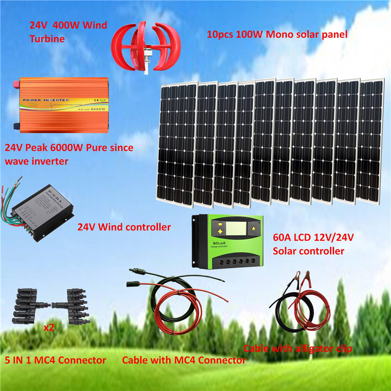 24V System 1400W Hybrid System Kit: 400W Wind Turbine & 10*100W Mono solar panel+ Peak 6000W Pure Since Wave Inverter+Parts image