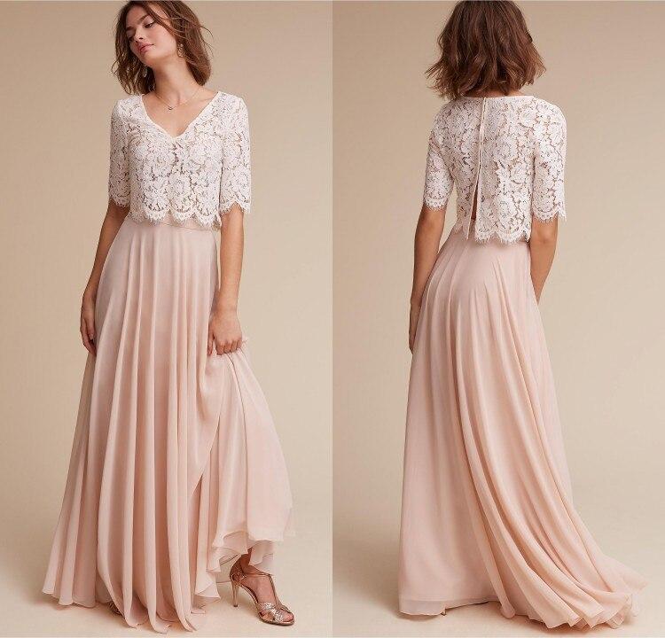 Two Piece A Line   Bridesmaid     Dresses   V Neck 1/2 Lace Chiffon Floor Length Beach   Bridesmaid     Dresses