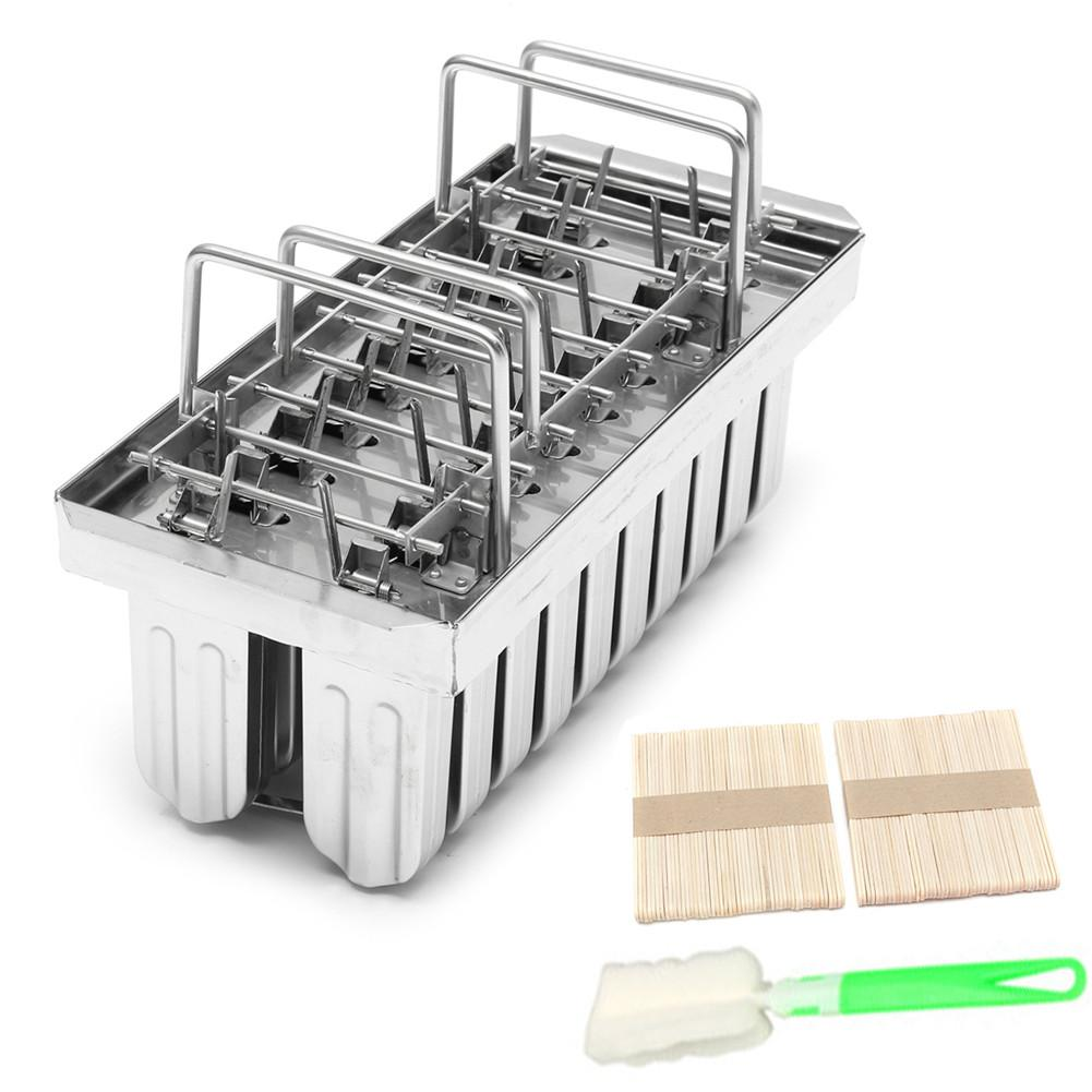 20Pcs/Batch Commercial Freezer Mould Ice Pop Mold Popsicle Durable Stainless Steel Ice cream Mould Lolly with 20Pc Stick Holder