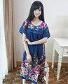 Marinha das Mulheres Azuis de Verão Roupão De Banho de Algodão Senhora Flor Impressão de Manga Curta Robe Roupão Sleepwear Roupa One Size WR080