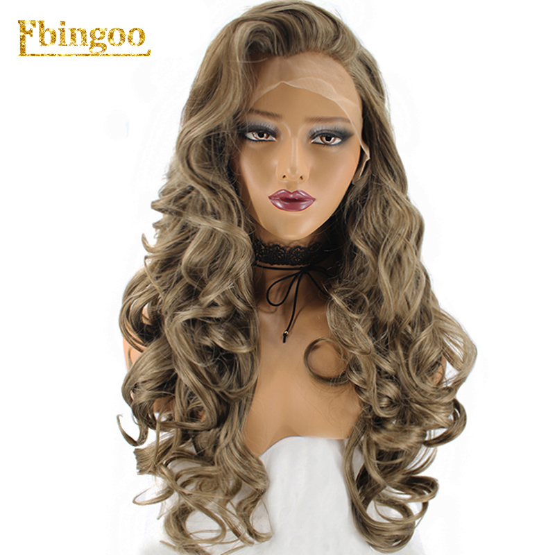 Ebingoo Hair Cap+High Temperature Fiber Natural Long Wavy Dark Blonde Synthetic Lace Front Wig For Women-in Synthetic Lace Wigs from Hair Extensions & Wigs    1