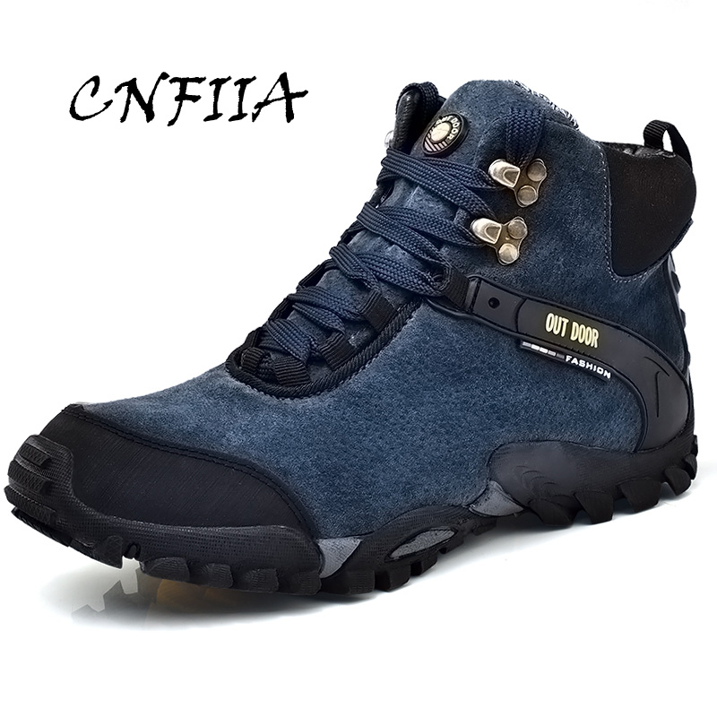 CNFIIA Men Boots Fur Warm Trekking Shoes Snow Winter Boots Men Plus Size 45 46 High