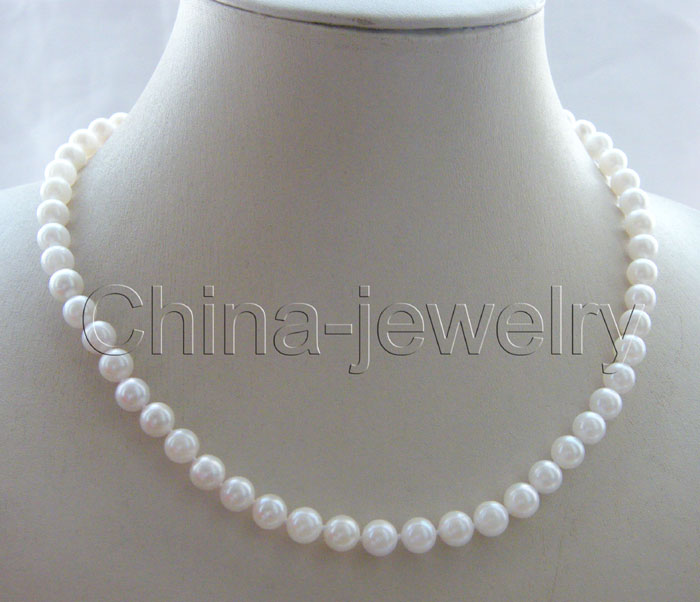 """>>>>>AAAA 17.5"""" Perfect 7.5mm white Japanese akoya pearl necklace-14KGP gold clasp"""