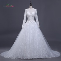 Dream Angel Luxury Long Sleeve A Line Lace Wedding Dress 2018 Chapel Train Appliques Beading Illusion Vestido De Noiva Plus Size
