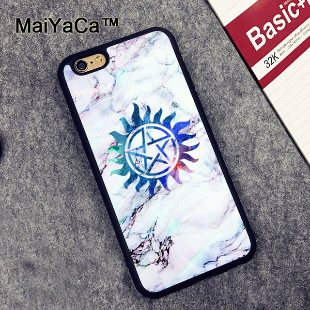 Maiyaca Supernatural Symbols In Marble Soft Tpu Phone Cases For