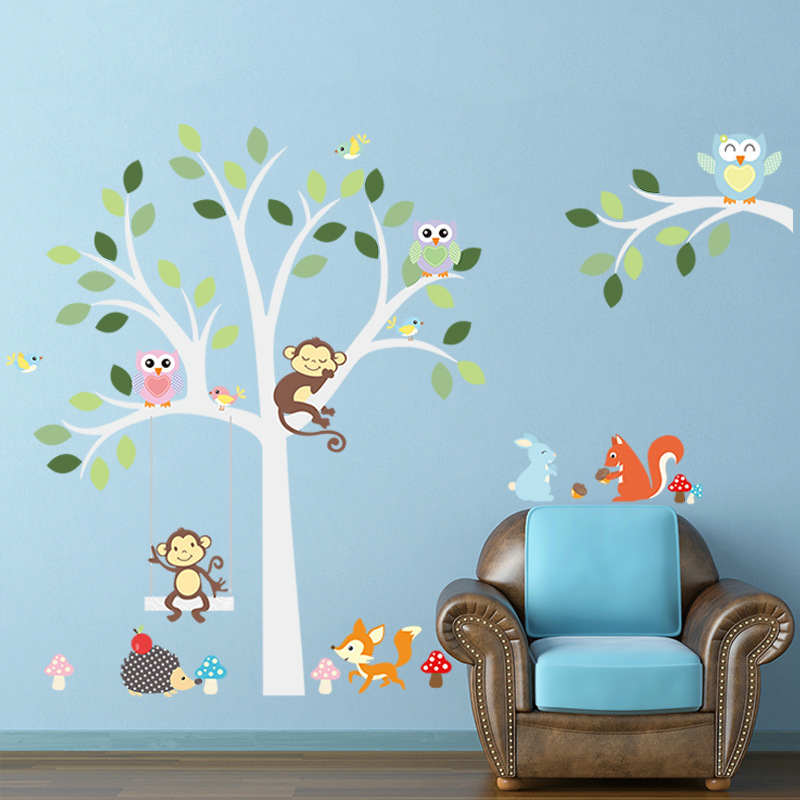 Owls Monkey Big Tree Wall Stickers Decals Kids Birds Vinyl Infantil DIY  Wallpaper Baby Girls Boys Home Room Nursery Door Decor