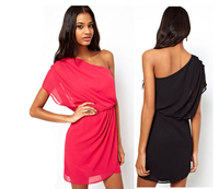 TFGS New Design Design Women Sexy Oblique Strapless Pleated Pure Color Chiffon Fashion Summer Dress Sexty
