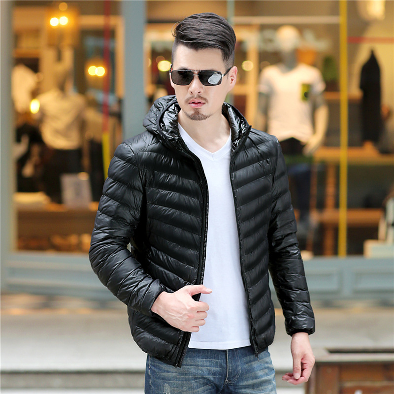 2018 Winter Men's White   Down   Jacket Clothes Fashion Casual Hooded Warm Plus Size Ultralight   Down     Coat   Portable Slim   Down   Parkas