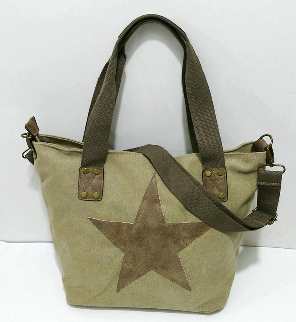 BIG STAR STUDDED GLITTER CANVAS HANDBAG - Multifunctional Travel Tote Shoulder Bag 2