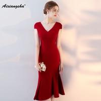 New Cheap Mermaid Dress Elegant Prom Dresses 2018 Vestido De Festa Elegante Vestidos Largos Wine Red Party V neck Dress