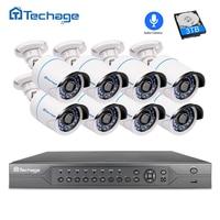 Techage 16CH 2MP 3MP 5MP POE NVR CCTV System 8 1080P Audio Record Sound IP Camera