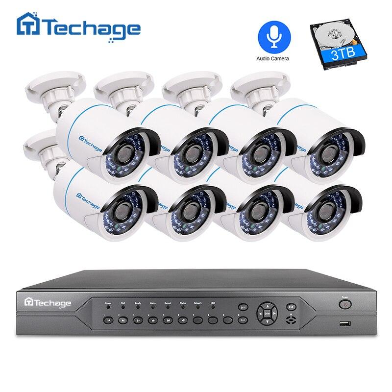 Techage 16CH 2MP 3MP 5MP POE NVR CCTV Системы 1080 P аудио записывать звук IP Камера P2P видеонаблюдения Системы С микрофоном