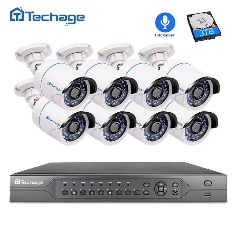 Techage H.265 16CH 2MP 3MP 5MP POE NVR CCTV Системы 1080 P аудио запись микрофон POE IP Камера P2P видеонаблюдения Системы комплект