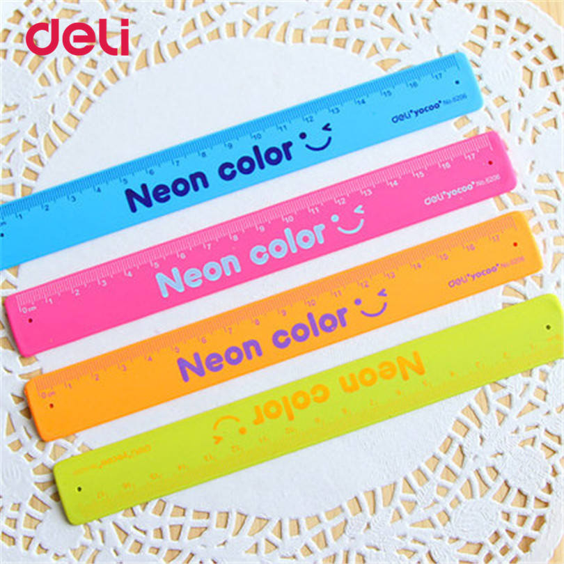 Deli Folding Ruler Plastic Material Clap-Clap Ruler Bracelet School Students Stationery Drafting Supply Drawing Ruler Straight