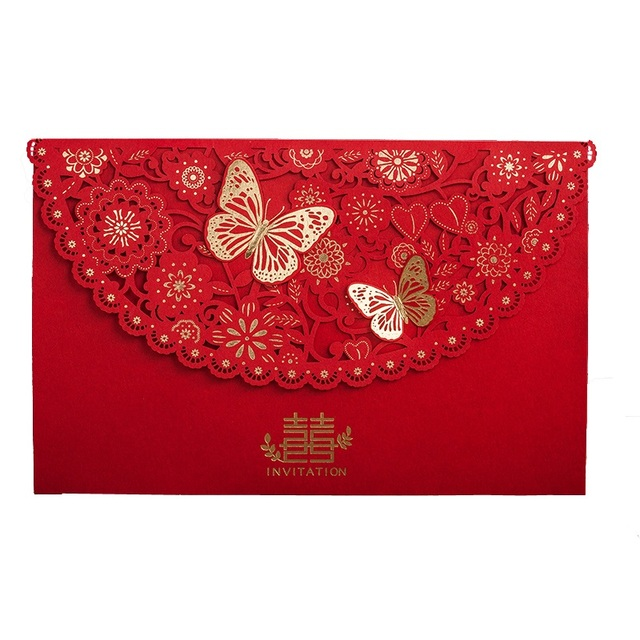 Aliexpress Com Buy 50pcs Chinese Style Wedding Invitations Red 3d