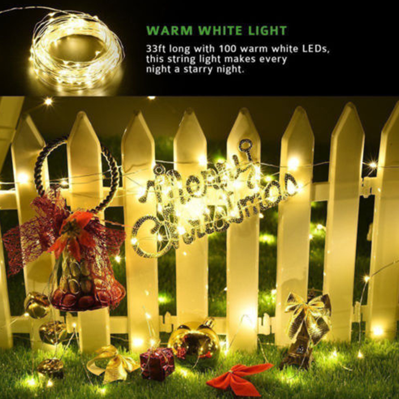 Солнечная сказочная гирлянда, теплый белый 100 светодиодный светильник на солнечной батарее, 10 м, наружный ярд, домашний декоративный сад, свадебный фестиваль, Ландшафтная лампа, Декор