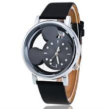 купить Fashion Mickey Women Watches relogio feminino quartz casual transparent hollow dial leather women watch dress wristwatches clock дешево