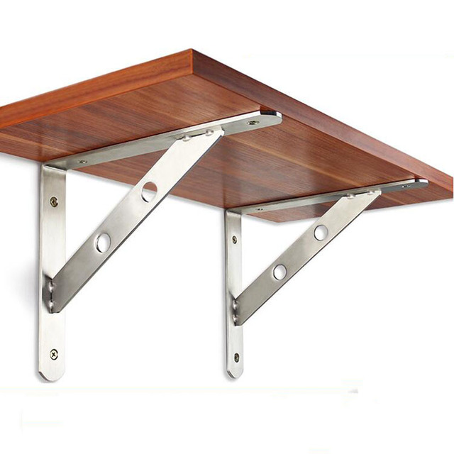Stainless Steel Triangular Support Wooden Shelf Bracket Right Angle Fixing Wall Frame 25cm Long X2