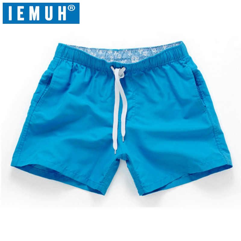 IEMUH marka lato nowe wygodne szorty mężczyźni Fit stałe 18 kolorów dostępne szorty luźne w pasie oddychające spodenki plażowe HI-Q