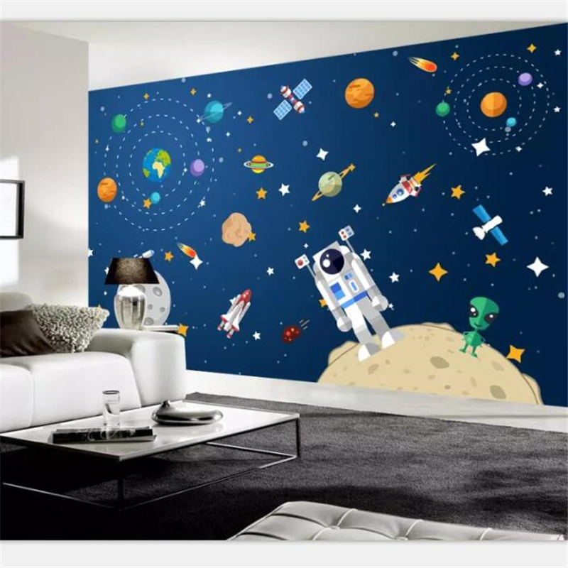 Beibehang Wallpaper Murals Custom Photo Home Decor Living Room Bedroom 3d Hand-painted Cartoon Space Star Space Ship Mural