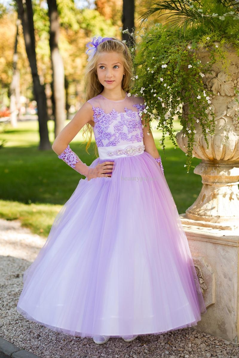 Beautiful long sleeves a line lilac tulle appliques flower girls beautiful long sleeves a line lilac tulle appliques flower girls dresses garden style modest pageant girls dresses w122302 in flower girl dresses from mightylinksfo