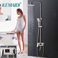 KEMAIDI Intelligent Digital Shower Faucet Set Water Powered Shower Mixer Tap Tub Mixers Temperature Digital Display Shower Head