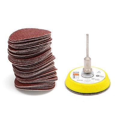 50Pcs 2'' 50mm Sandpaper 60-180 Grits With M6 Self-adhesive Wool Polishing Disc