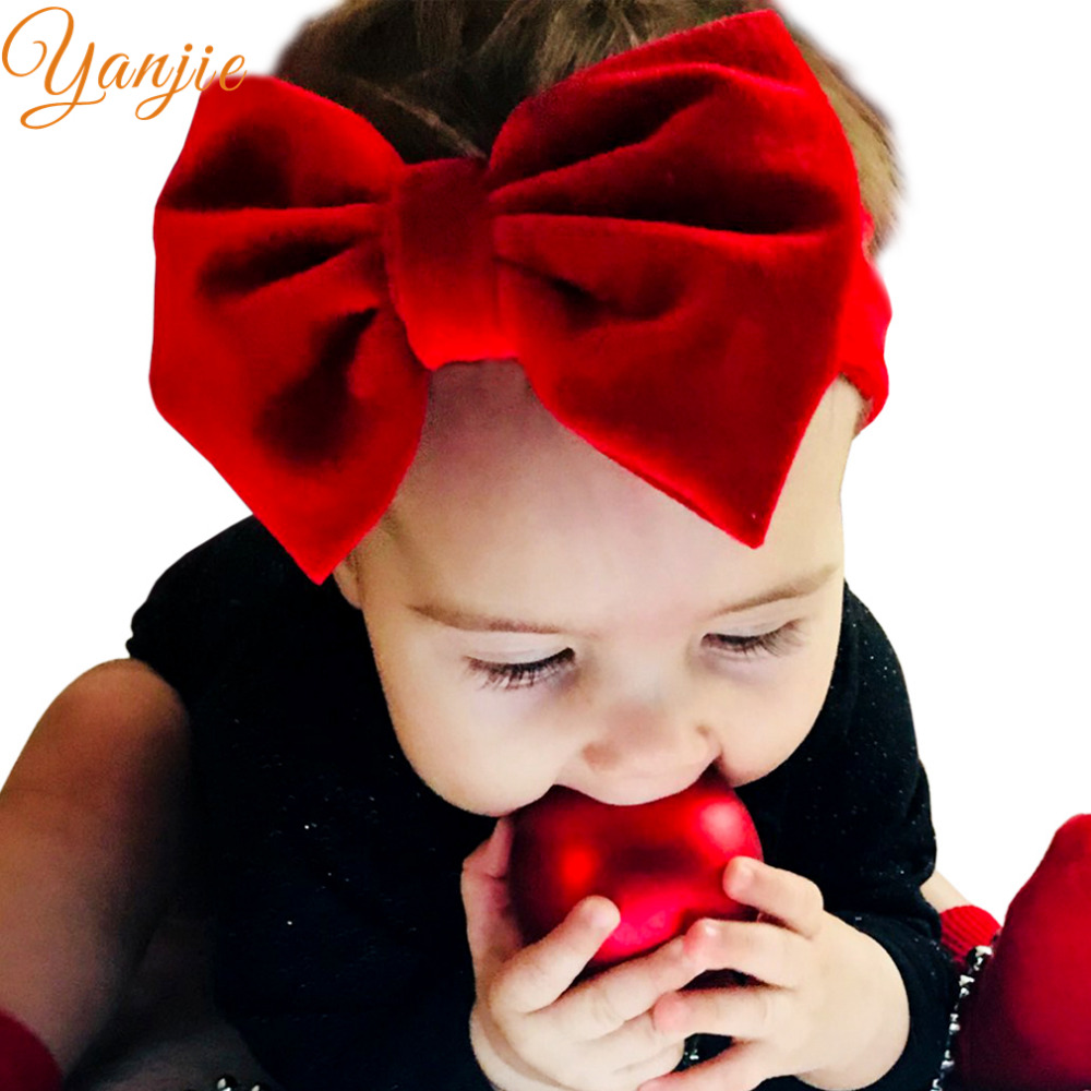 Girls 5'' Big Velvet Bow Headband For Winter 2019 Kids Velvet Hairband Solid Large Hair Bow Birthday Party Gift Hair Accessories