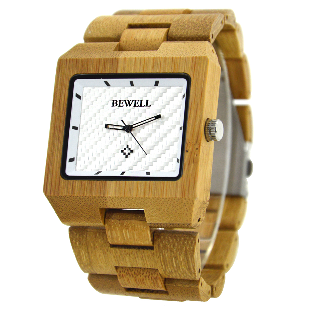 где купить BEWELL Quartz Bamboo Watch for Man Wooden Watches with Fashion Sport Rectangle Wrist Watch Masculino Clock in Gift Box 016A по лучшей цене