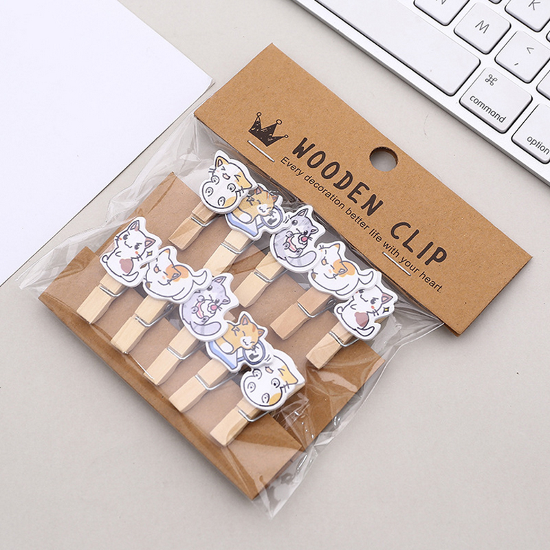 10 Pcs/lot Cartoon Cute Cat Pet Photo Clips Wooden Clip DIY Photo Wall Decoration Clip Craft Pegs With Hemp Rope