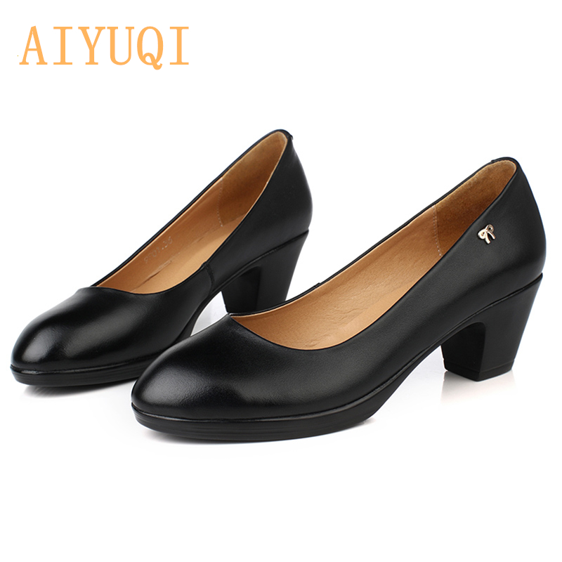 AIYUQI Women Shoes Fashion leather spring fall Shoes Classic black office lady shoes High heel zapatos mujer sapato feminino in Women 39 s Pumps from Shoes