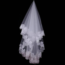 150CM Short wedding veil Lace Appliqued Edge Tulle Bridal Veil 1 Layer Fomhertip Length Wedding Accessories 2018