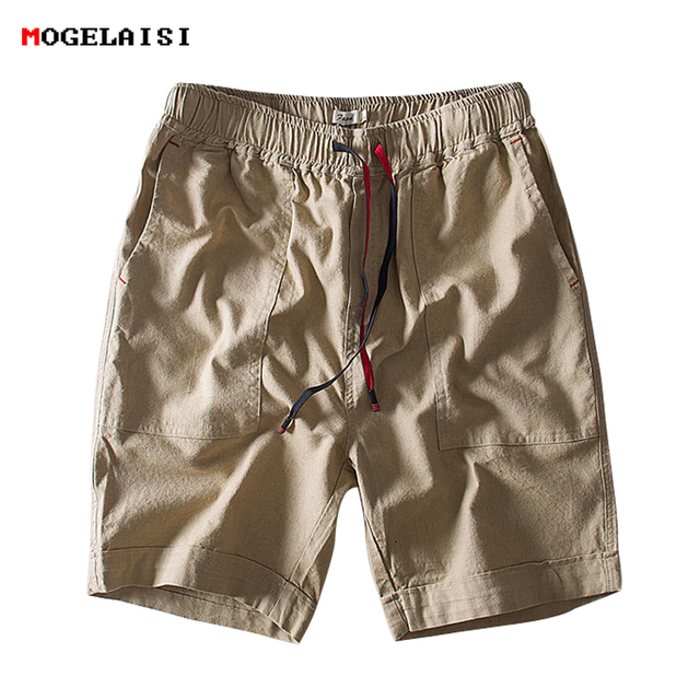 2018 New arrival causal Shorts Men summer Solid linen Cotton Simple pocket knee lenght Shorts Straight Elastic Waist Shorts 1835