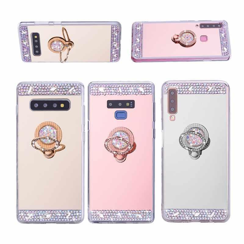 لسامسونج غالاكسي S10 10e حالة مرآة TPU جراب هاتف على لسامسونج S10 زائد ملاحظة 9 8 A6 A8 A9 a7 2018 حالة غطاء