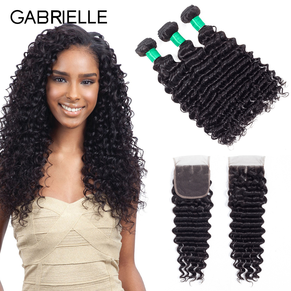 Gabrielle Brazilian Deep Wave Hair 100% Human Hair Bundles With Closure 3 Bundles With Lace Closure Non-Remy Hair Extensions
