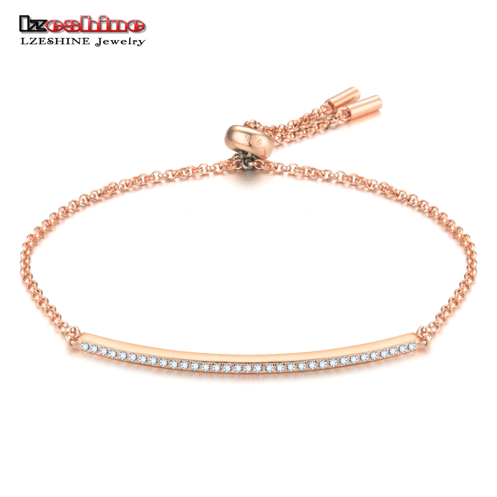 LZESHINE 100% 925 Sterling Silver Chain Bracelet With Pave AAA Zircon Fashion Jewlery Charm Bracelets For Women Christmas Gift