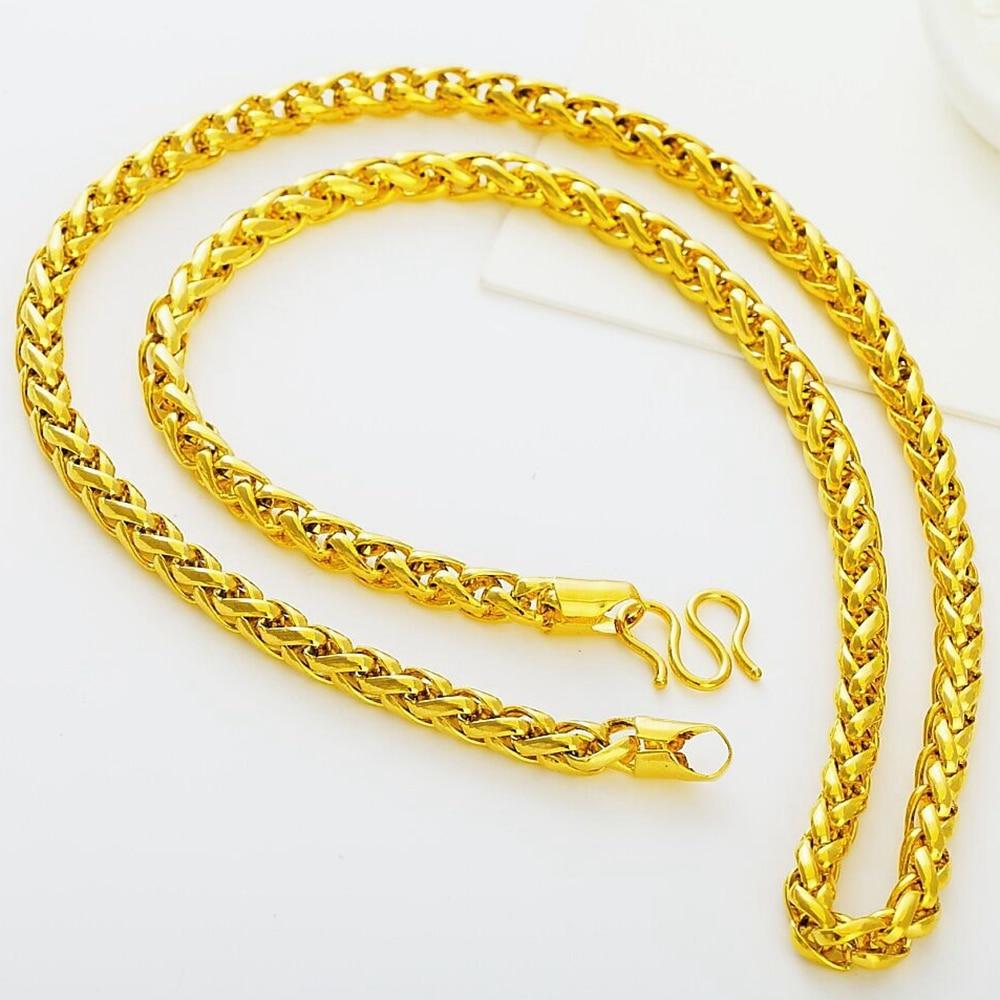 20c1b234b ⓪سلسلة الذهب الأصفر شغل الرجال قلادة هدية 45 سنتيمتر طويلة - a345