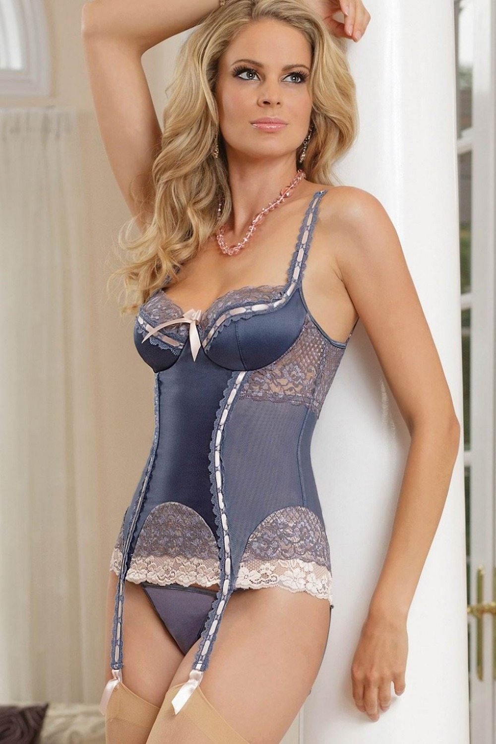 Sexy Bustier Babydoll Satin Powernet Bustier Women Blue -9401