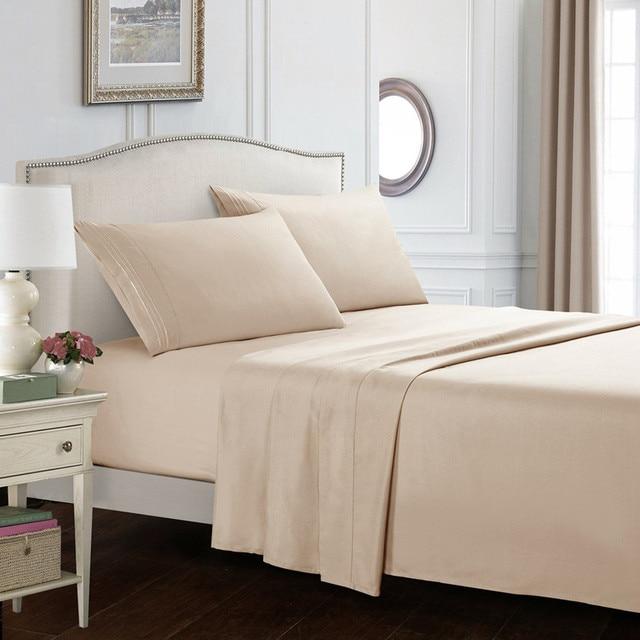4 Pcs Set Bed Sheet Super Soft Microfiber Luxury Sheets 16 Inch Deep Pocket Flat Ed Pillowcases High Quality
