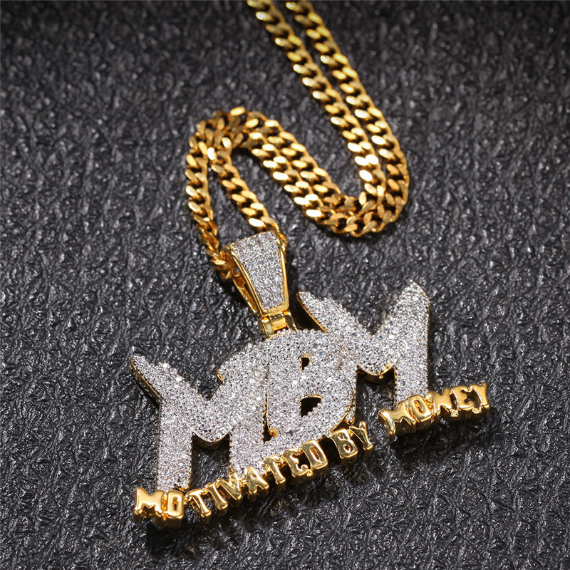 Iced Out Letters Pendant Necklace New Arrival AAA Zircon 2 Colors Men's Charms Necklace Fashion Hip Hop Jewelry Gifts