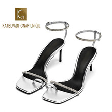 KATELVADI Women Sandals Ankle Strap Summer Shoes Woman 7CM High Heels Sandals Silver PU Open Toe Women Summer Sandals K-371 mvvjke summer women shoes woman genuine leather flat sandals casual open toe sandals women sandals