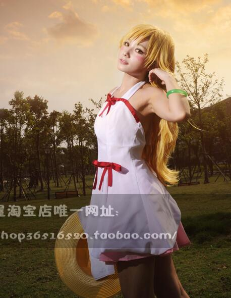 2016 Nisemonogatari Pseudo Story Heroine Oshino Shinobu Custom White Dress Anime Cosplay Costume