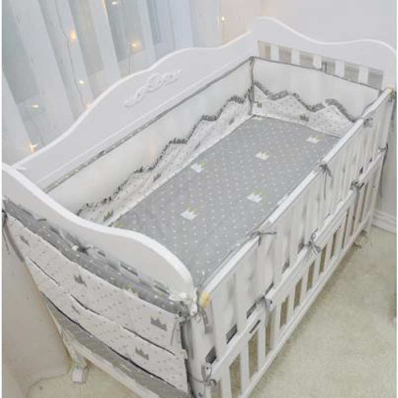 5Pcs/ Sets Baby Bedding Set Beautiful Comfortable Baby Bumper Bed Around Cotton Print Lace Mesh Cot Bumper Bed Sheet Bedding