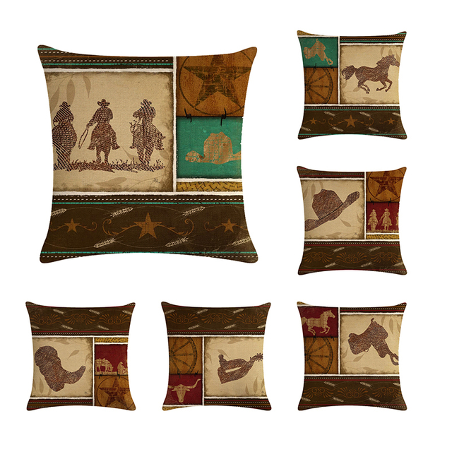 Cowboy Horse Animals Pattern Decorative Throw Pillows Cushion Cover Best Horse Pillows Decor