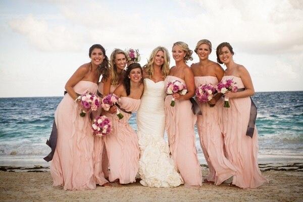 Blush Pink Strapless Bridesmaid Dresses Long Chiffon Sashes Vestido De Festa Gown For Beach Weddings Party