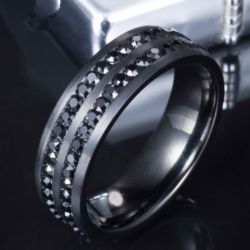 SHARDON Mens Black Tungsten Ring Inlay Double Channel Cubic Zirconia Wedding Bands With Size 7 13 In Rings From Jewelry Accessories On