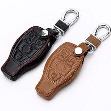 Coque en cuir véritable pour clé télécommande, pour Mercedes Benz classe W205 classe E W212 A B S GLC GLA GLK, accessoires de voiture