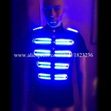 Лидер продаж подсветкой рубашка Костюмы для бальных танцев костюм Одежда для танцев светодиодные растущий Освещение Для мужчин Костюмы для DJ Бар событие для вечеринок
